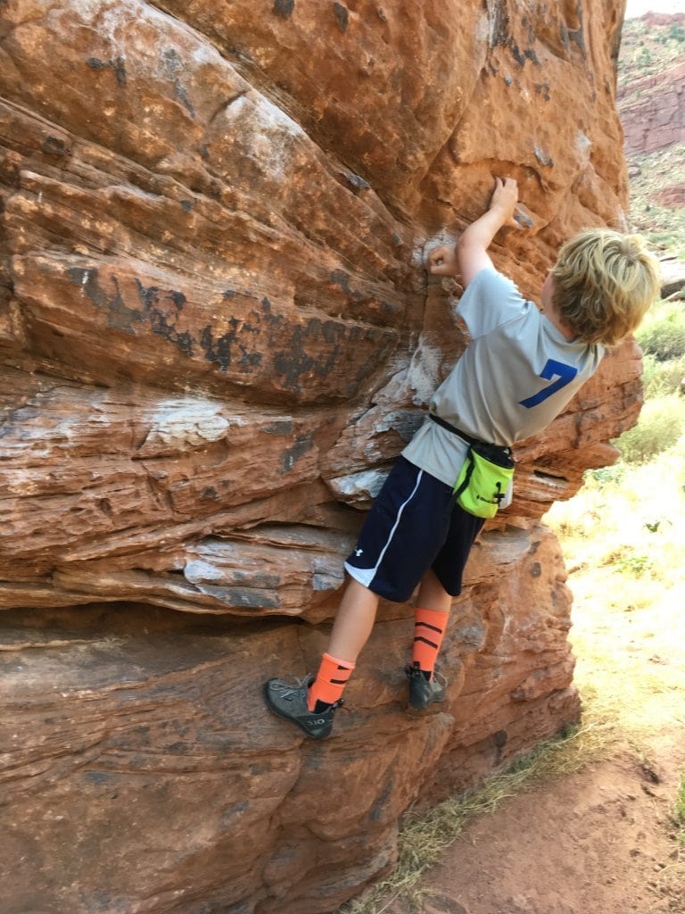 Declan climbing in Zion on family vacation