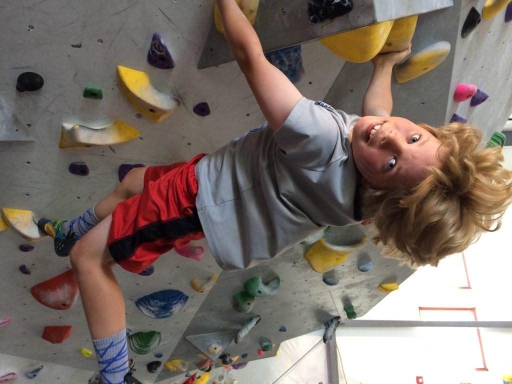 Declan climbing at Salt Pump Summer Camp – 2017