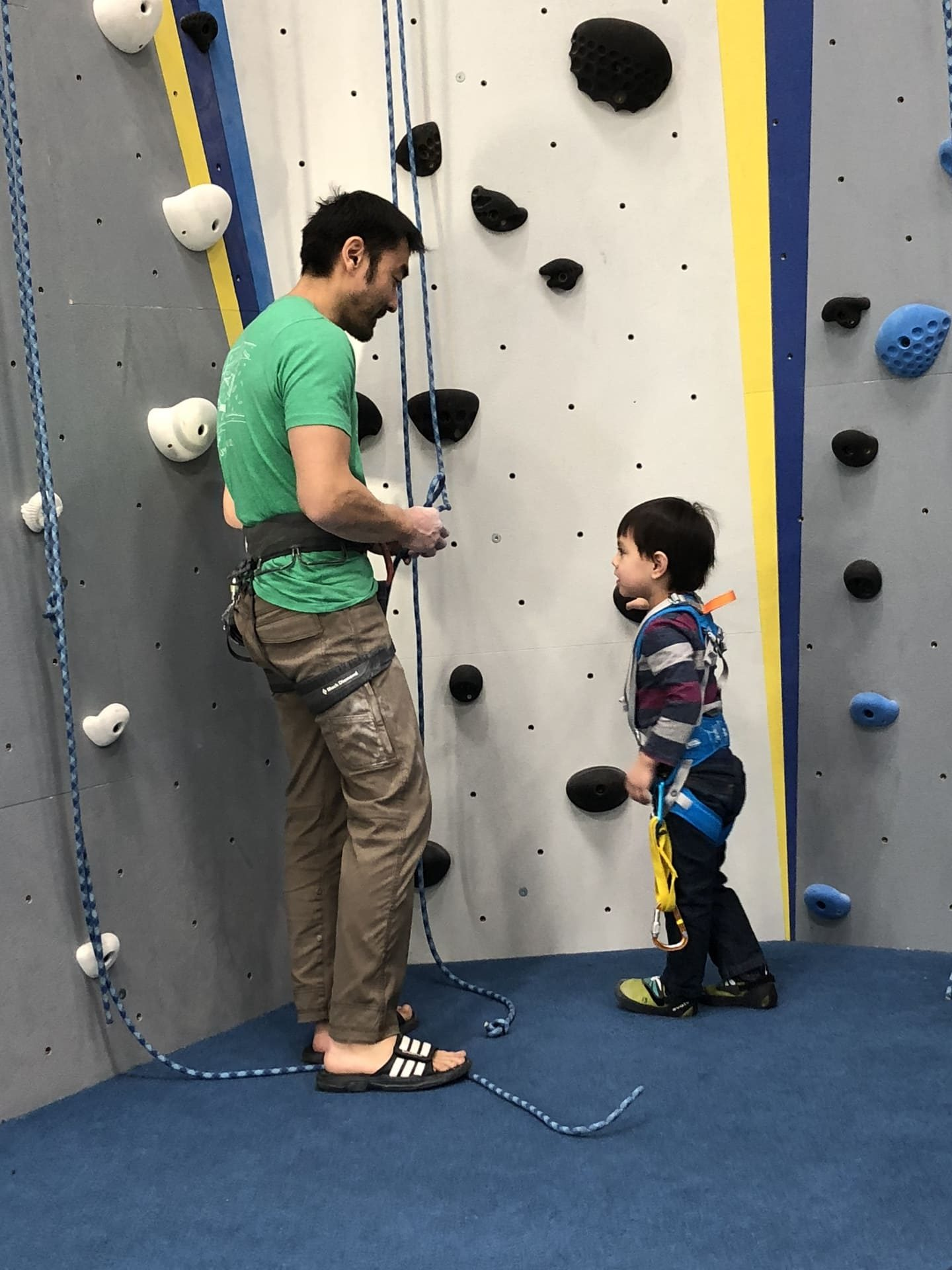 Cole taking his little nephew Alton climbing for the first time.