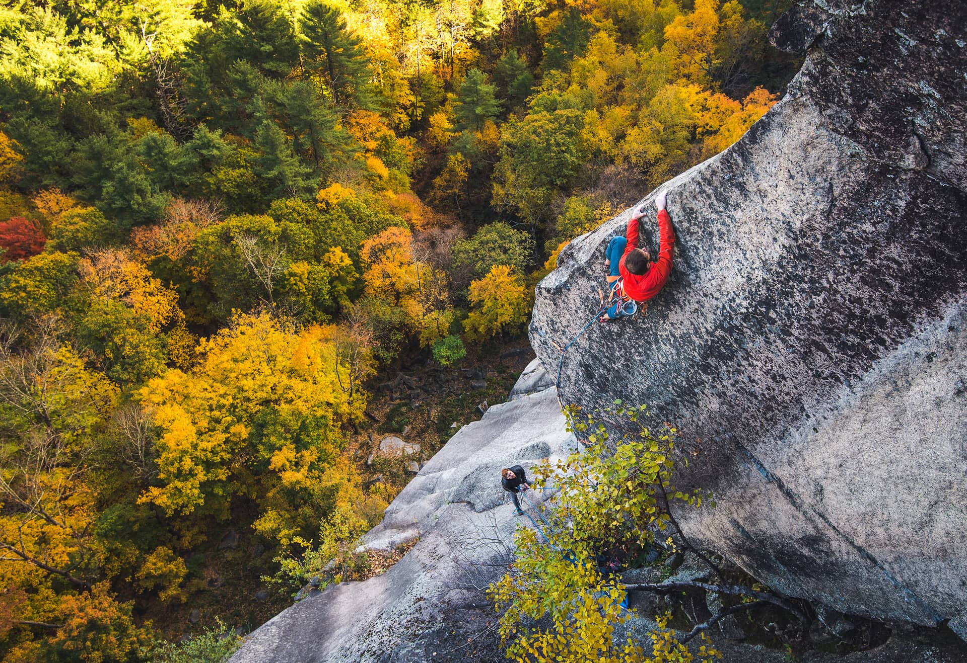 Life, The Universe and Everything: Jay Conway on the spectacular and difficult 5.13c fourth pitch of his new line on Cathedral Ledge. Photo: Brent Doscher.